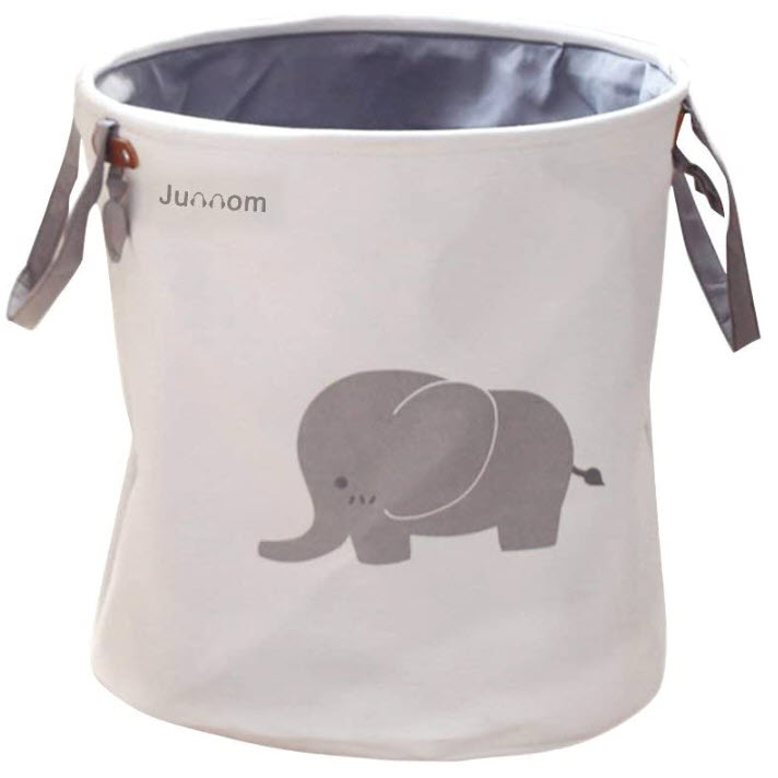 Junnom Polyester Storage Baskets, Collapsible & Lovely Laundry Bin or Laundry Basket