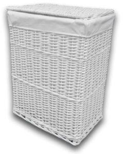 Arpan Medium White Wicker Washing Cloth Basket with White Lining