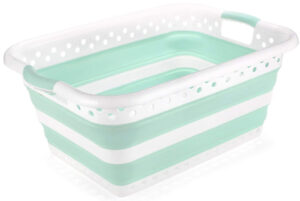 Addis Foldable Rectangular Laundry Basket, White & Aqua Haze, 45 litre capacity