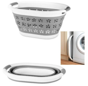 Optimal Products Collapsible Laundry Basket Hamper Clothes Storage Washing Foldable Bin Hipster (white & Grey, Medium (50cm)