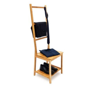 Relaxdays Bamboo Clothes Valet Chair 133 x 40 x 42 cm with 2 Shelves Wooden Clothes Stand with 3 Rails