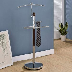 King's brand walnut finish wood and metal suit valet rack stand