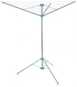 Minky Freestanding Indoor and Outdoor Airer with 15-meter Drying Space, Metallic and Silver Color