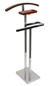 TROMSO Metal Clothes Valet Stand and Suit Hanger in Silver Color